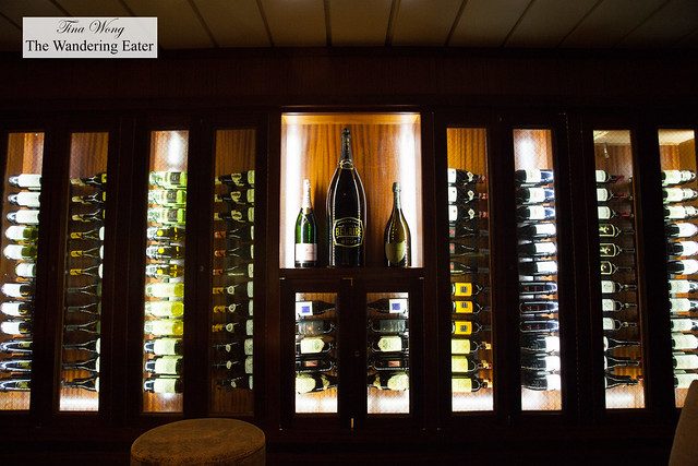 A wine cellar full of Champagnes and wines