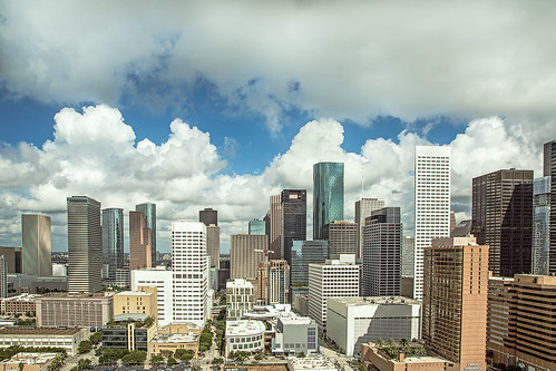 architecture buildings city clouds downtown houston skyline skyscrapers texas unitedstates us