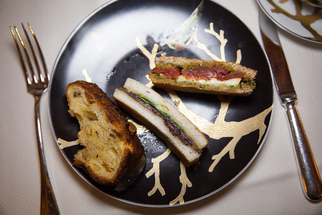 Savory tea sandwiches and fresh baked kugelopf