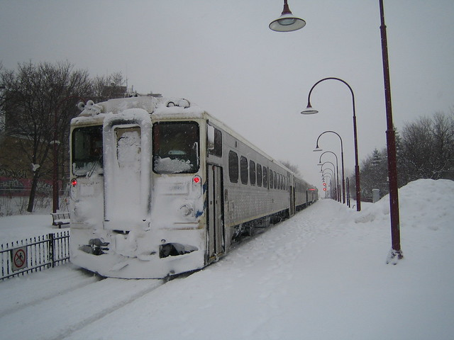 Snow covered AMT cab car @ Montreal West