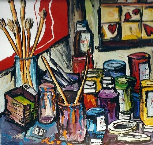 The studio still life painter Raphael Perez's study drawing tools color fabric brushes brushes  Board chair table acrylic canvas _ne water oil