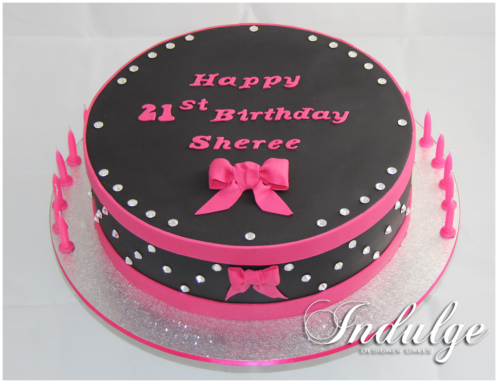Awe Inspiring Hot Pink And Black Bling Cake Black And Pink Birthday Cake Flickr Funny Birthday Cards Online Overcheapnameinfo
