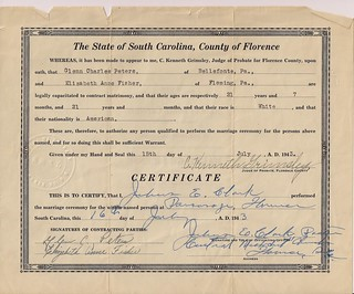 Glenn's marriage certificate