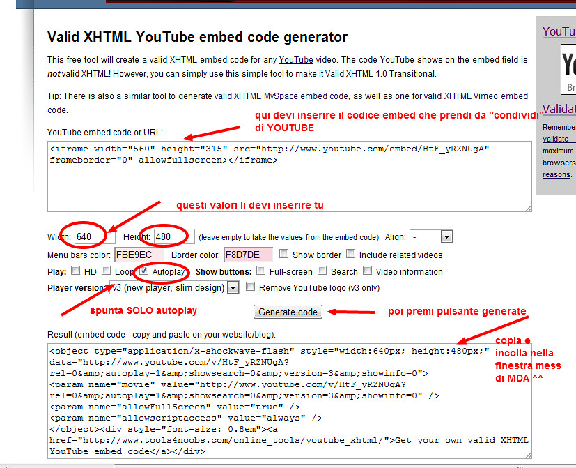 Valid XHTML YouTube embed code generator Online tool | Flickr