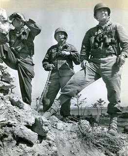 Simon Bolivar Buckner, Jr., Lemuel C. Shepherd, and William T. Clement, Okinawa, 22 May 1945   by Archives Branch, USMC History Division