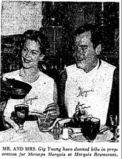 gig young and wife eat shrimp 1959 LAT | by richardschave
