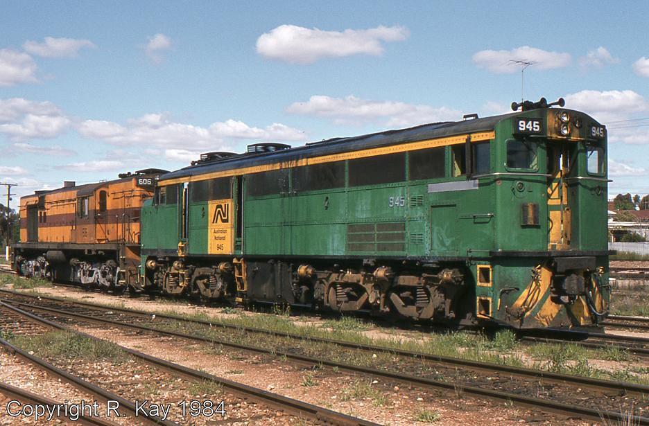 Australian National Railways Goodwin-Alco locos 945 & 606 at Peterborough Loco Depot by Robert Kay