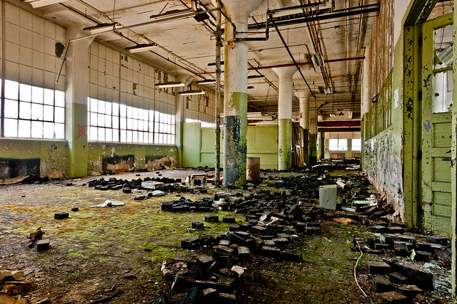 got mold? Big mold problem here. Abandoned Barber-Colman factory in Rockford, Illinois