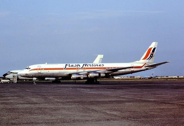5N-ATZ DC8 Flash airlines ostend Aug '91