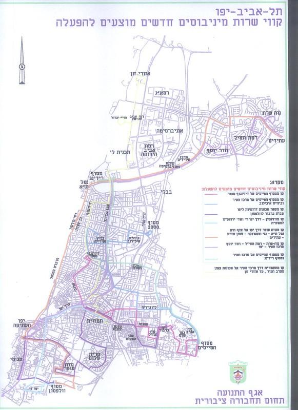 מפת מוניות שירות מוצעות בתל-אביב-יפו