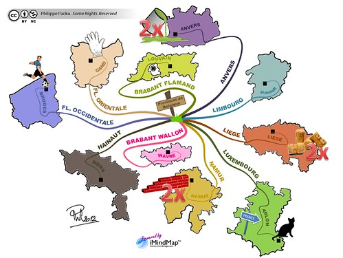 Philippe Packu - How to memorize a geography lesson - Belgium mind map   by IPhilVeryGood