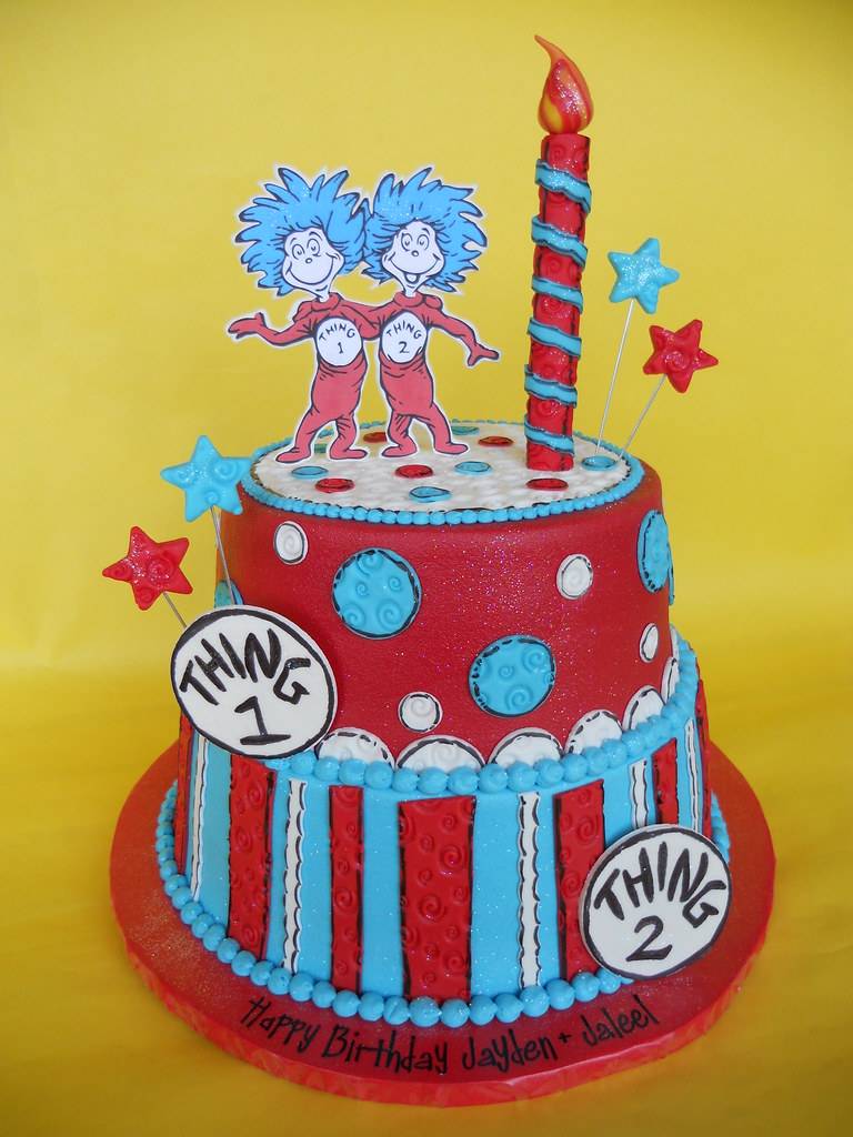 Excellent Thing 1 And Thing 2 Twin Birthday Cake Amy Stella Flickr Personalised Birthday Cards Veneteletsinfo