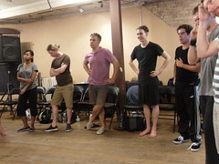 Tue, 2011-11-15 23:53 - The cast plays with designer Lee Keenan's puppet prototypes!
