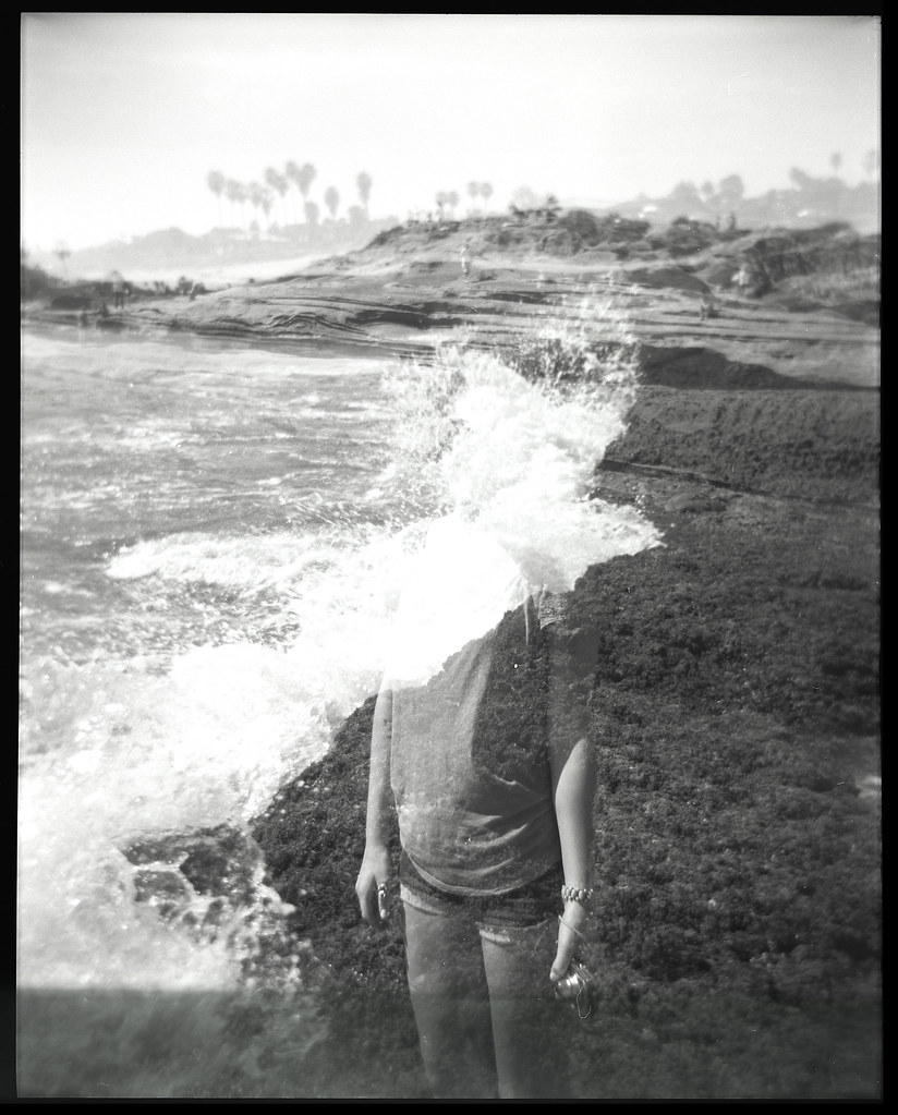 120mm film black and white double exposure sunset cliffs by dakotabrinkert