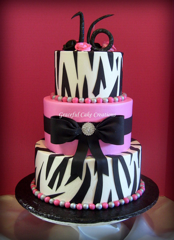 Strange Hot Pink And Zebra Print Sweet Sixteen Birthday Cake Flickr Funny Birthday Cards Online Alyptdamsfinfo