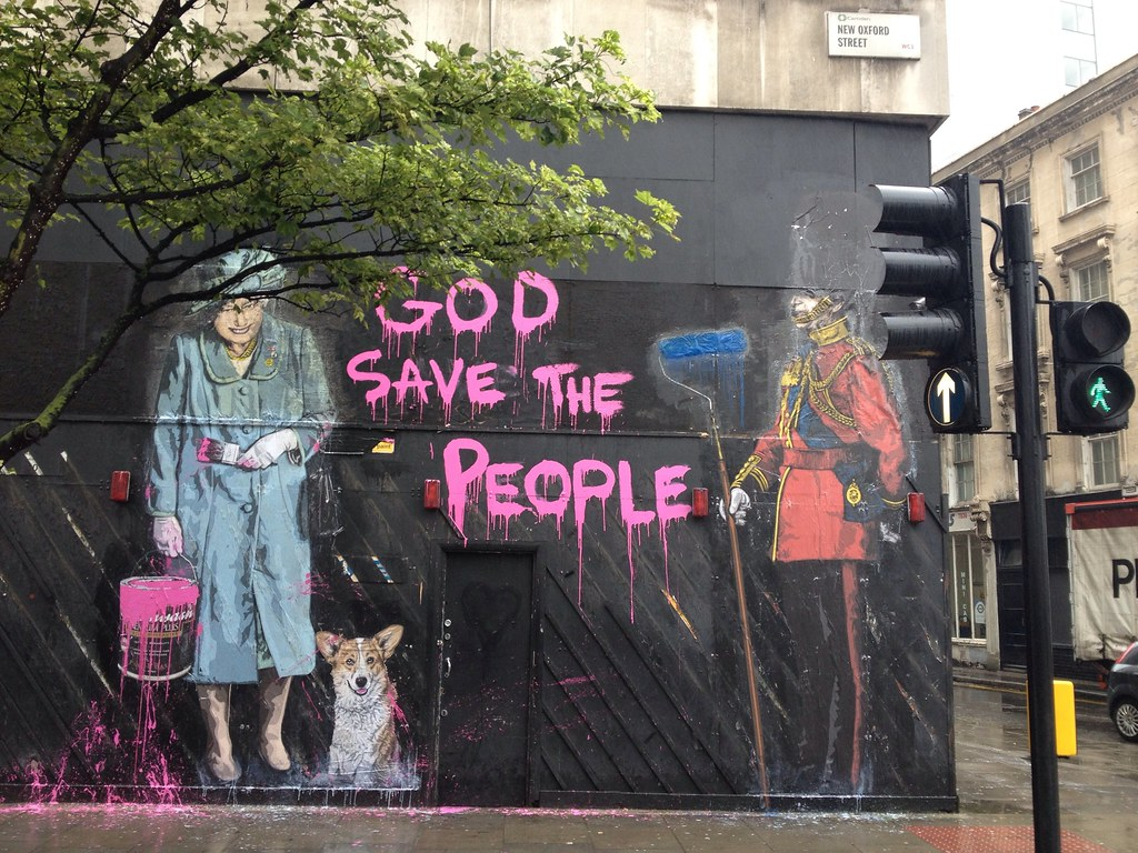 God Save The Queen By Banksy New Oxford Street Wc1 Flickr