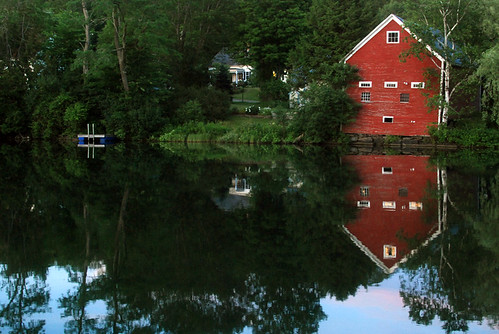 red summer green water reflections landscape vermont barns brookfield floatingbridge