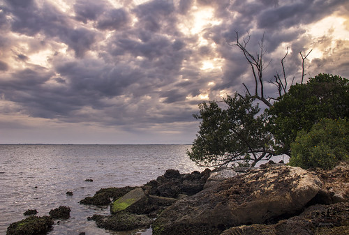 poncedeleon historicalpark puntagorda charlottecounty florida fl charlotteharbor peaceriver sunset shoreline mangroves rocks clouds horizon seascape landscape scene scenery stevefrazierphotography may2016 water waves beautiful shore