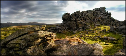 landscape landmark houndtor dartmoor devon england uk historicplaces historicicons history rocks travel worldtravel nature naturelovers sunset sunlight olympus olympus2100 photoshop nik viveza colorefexpro panorama 2002 europe2002 mountains valley green gold black yellow orange gray sliderssunday 365
