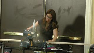 Ana working the saw