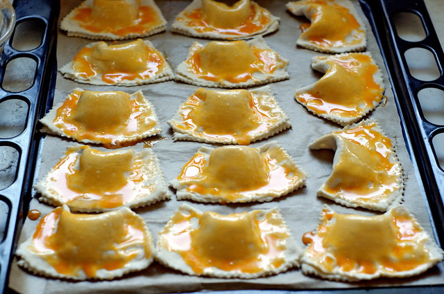 Puff pastry turnovers filled with plum jam