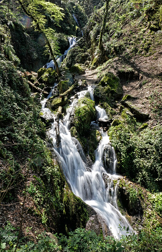 nature view landscape waterfall water flow steam mountain iran travel tourism aliabad