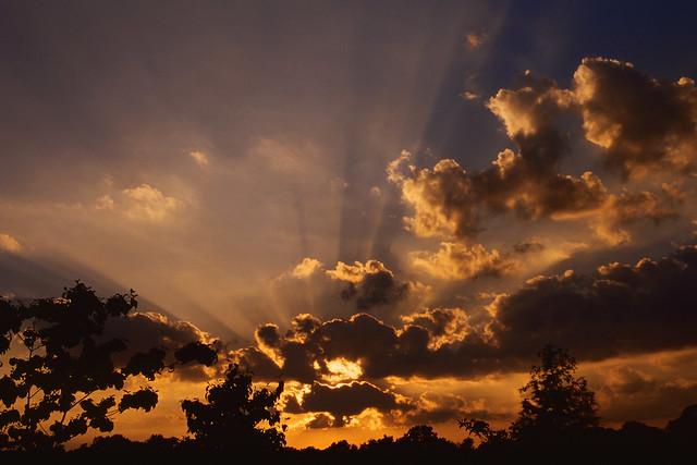 Sunset Clouds Light Streams