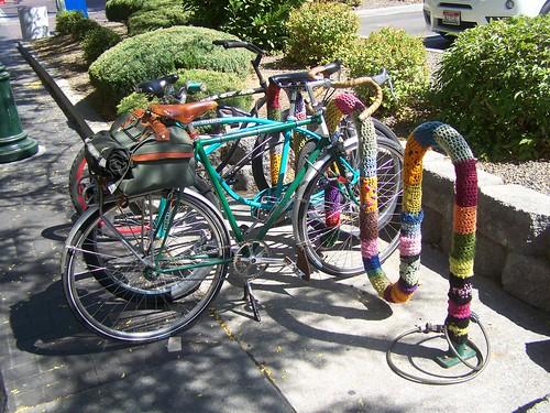 Yarn bombing a bicycle rack in Boise, Idaho