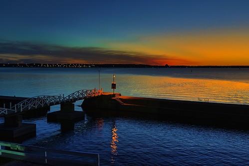 bridge blue sunset sky orange ontario canada reflection building beach water club river yacht dusk ottawa horizon patio walkway britannia nortel beyondhue