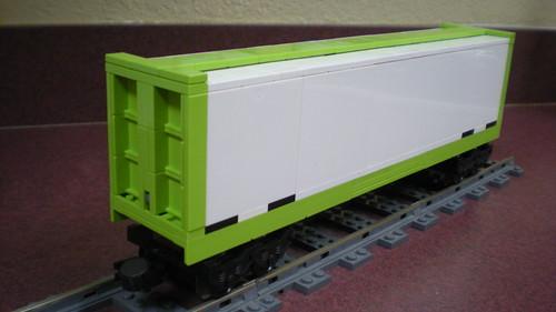 Lime green centerbeam flatcar