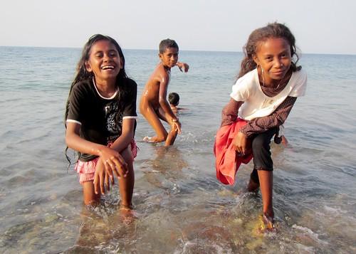 beach children play easttimor oecussi timorleste timorese