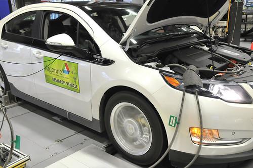 Chevrolet Volt on dynamometer at Argonne's APRF Photo