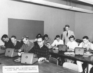 Professor Gerhard Rostvold overseeing an accounting lab in 1954