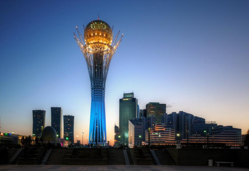 bayterek tower sunset astana kazakhstan