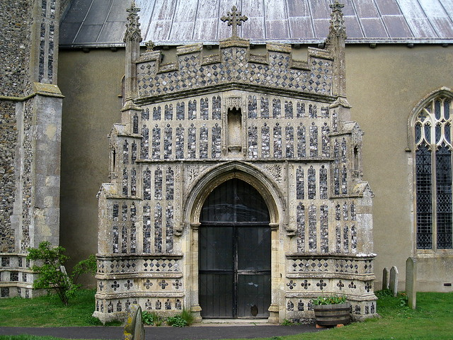 The south porch (late 15th C.), Church of St Mary, Kersey, Suffolk, England