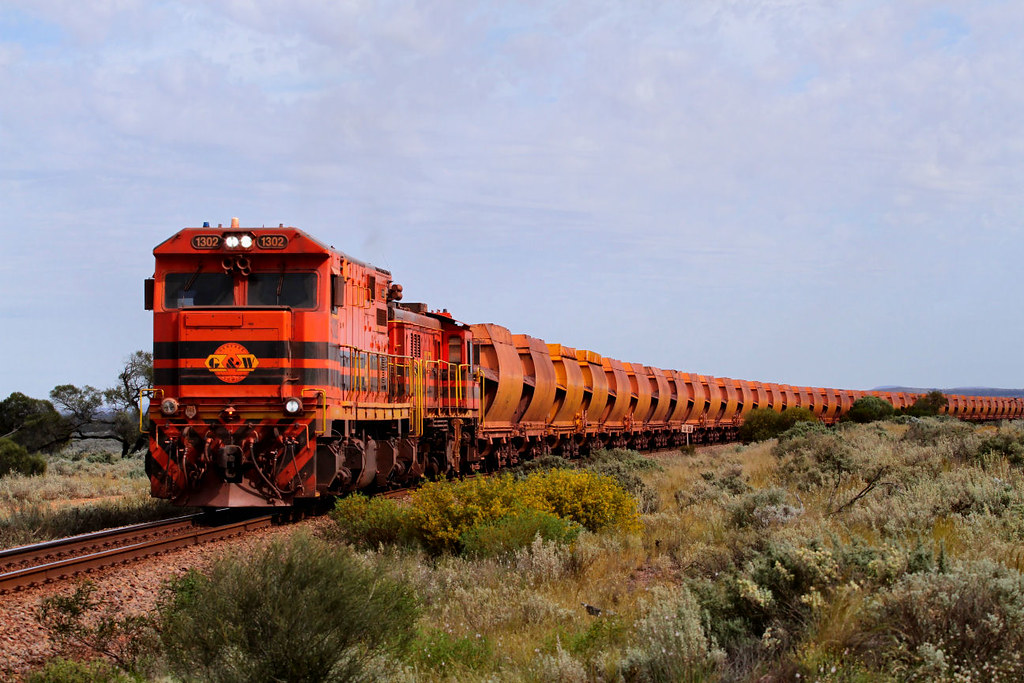 1302 902 DW61 Loaded Arrium Iron Duke Ore 18km Middleback Junction to Whyalla Section 28 09 2012 by Daven Walters