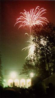 Fireworks above Big Bridges as part of the Centennial celebration on Founders Day 1987