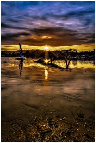 sunset sky beach canon river sand australian australia shutter beaches tasmania hdr highdynamicrange tasmanian canonefs1022mm canon60d