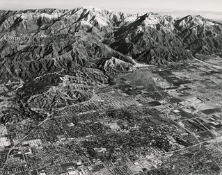 Aerial view of the San Gabriel Mountains north of Claremont
