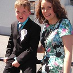 Fergal Murphy with class teacher, Jacqueline Kelly at the First Holy Communion