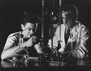 Hulbert Burroughs photo of Chemistry Professor W. Conway Pierce with a student in 1950. Pierce was a member of the Chemistry faculty from 1945 to 1953.