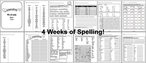 4th Grade Spelling - Unit 1 - 4 Weeks | by CHSH-Teach
