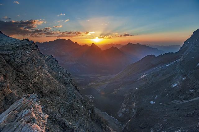 Sunrise near Monte Leone. Italy from Swiss border. No. 7089.