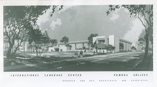 An architectural sketch of Oldenborg Center, built in 1964