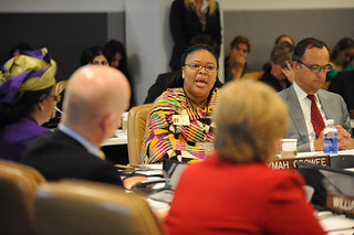 "Nobel Peace Laureate Leymah Gbowee  speaks at the high-level event ""Preventing Sexual Violence and Gender-based Crimes in Conflict and Securing Justice for Survivors"" 