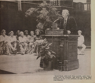 TSL photo of exiled South African journalist Donald Woods speaking during a Human Rights Conference in 1978