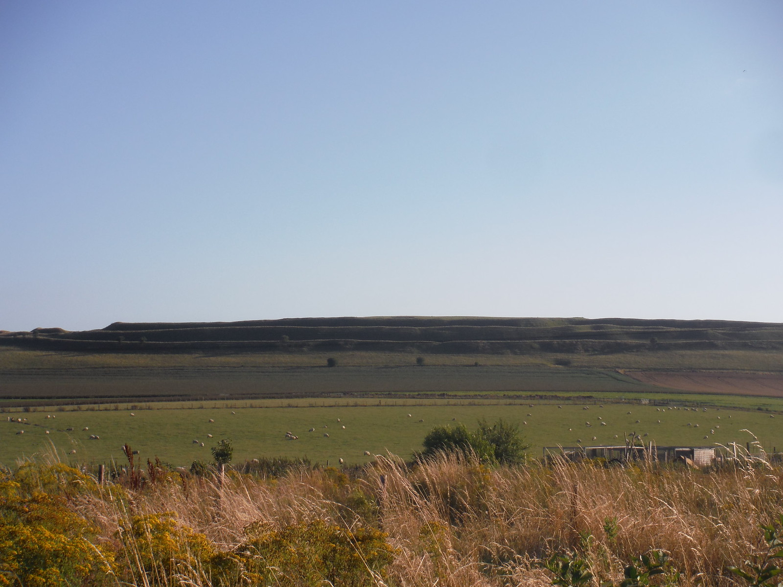Maiden Castle Iron Age Hillfort, in the evening sun SWC Walk 275 Dorchester South Circular or to Portesham