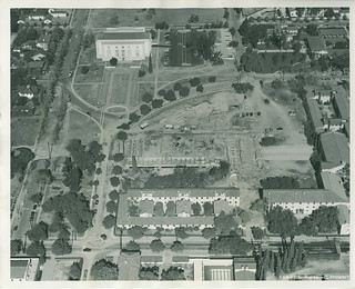 Aerial view of the construction of Walker Hall in 1952