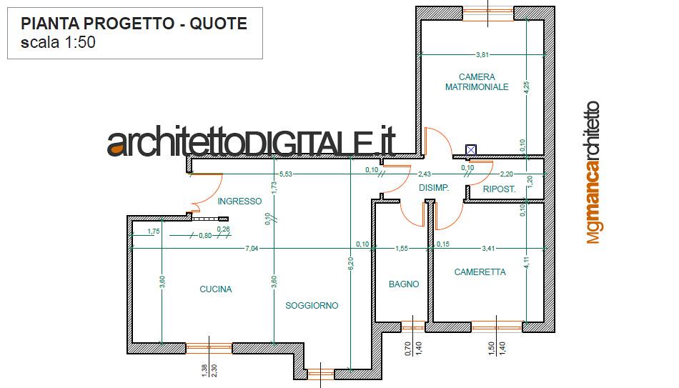 Progetto di interni di un appartamento di 75 mq pianta p for Architetto per interni