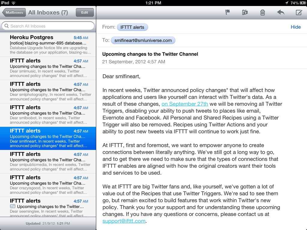 What happens when @IFTTT does not support multi-account ma